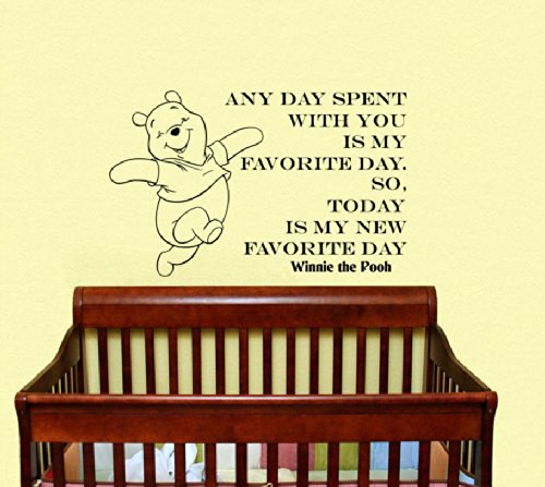Housewares Vinyl Decal Winnie The Pooh Quote Any Day Spent With You Is My Favorite Day. So Today Is My New Favorite Day Home Wall Art Decor Removable Stylish Sticker Mural Unique Design For Room Baby Kid Nursery front-41771