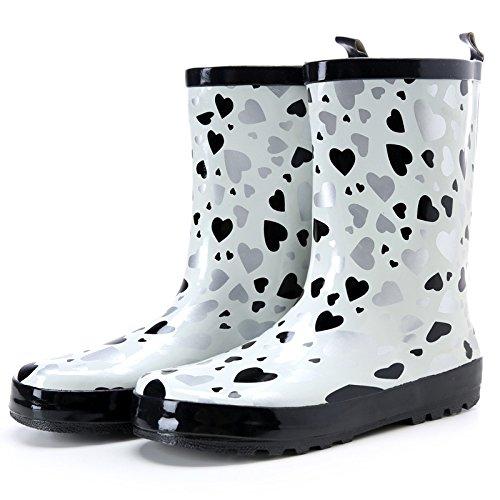 Fass rutschen in den Regen Stiefel Frauen Regen Stiefel klassische schwarz-weiß Liebe gerundet TOU Shui Schuhe Damenstiefel , white love , 35