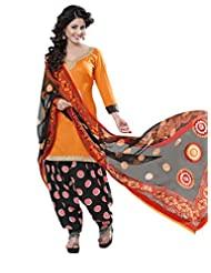 Inddus Women Orange & Black Cotton Satin Unstitched Dress Material