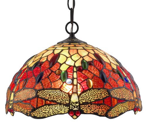 Best  Lighting AMHL Tiffany Style Stained Glass Hanging Lamp Ceiling Fixture