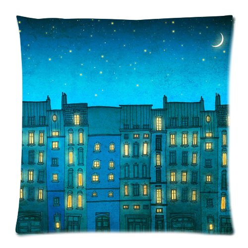 """Generic Custom Zippered Pillow Case Cushion Cover Cartoon Blue Califonia La Moon Star Printed 18""""*18""""(Twin Sides) front-1056476"""