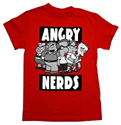 The Simpsons Angry Nerds Funny Cartoon TV Show Adult T-Shirt Tee