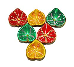 Sanskrite India Hand-Crafted Designer Multicolor Divine Diwali Diya - Set of 6 (Free Express Shipping, 2-3 Days Delivery)