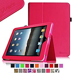 Fintie iPad 1 Folio Case - Slim Fit Vegan Leather Stand Cover with Stylus Holder for Apple iPad 1 1st Generation - Magenta