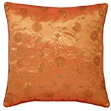 EXP Decorative Handmade Cushion Cover/Pillow Sham with Floral Swirl Designs, Sunset Orange/Red