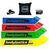 BODYLASTICS PREMIUM FLAT Resistance Bands Set. Includes 4 **Best Quality Flat Resistance Bands, Top Rated Door Anchor, Carry Bag, Printed User Book, and FREE IOS/Android App.