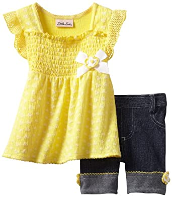 Little Lass Baby-Girls Infant 2 Piece Bike Short Set With Puff Print, Yellow, 12 Months
