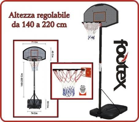 Impianto BASKET Canestro Tabellone Set PROfessionale Portatile CorSport per pallacanestro