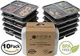 #1 Contenedor de 3 compartimentos de comida preparada (10 envases) Reutilizable, Apilable, seguro para microondas y lavavajillas - El Mejor Recipiente para el Control de porción en el mercado para su uso como loncheras Bento - Almacenamiento de Alime