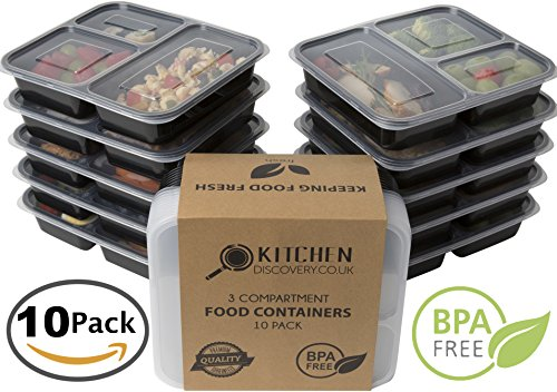 #1 Selling 3 Compartment Food Containers With Lids for Meal Prep (10 Pack) Reusable Bento Lunch Box, Stackable, Food Storage, Microwave and Dishwasher safe! BPA Free Portion Control Container Plates (Meal Prep Containers Bpa compare prices)