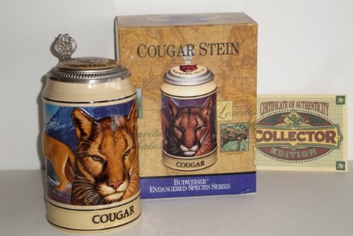 1995 Budweiser Endangered Species Series, Lidded Beer Stein, Cougar