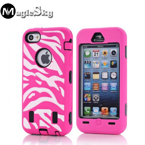 5C Case, Iphone 5C Case, Magicsky Iphone 5C New Case With Coloful Zebra Pettern Full Body Hybrid Impact Shockproof Defender Case Cover For Apple Iphone 5C, 1 Pack(Black/Hot Pink)