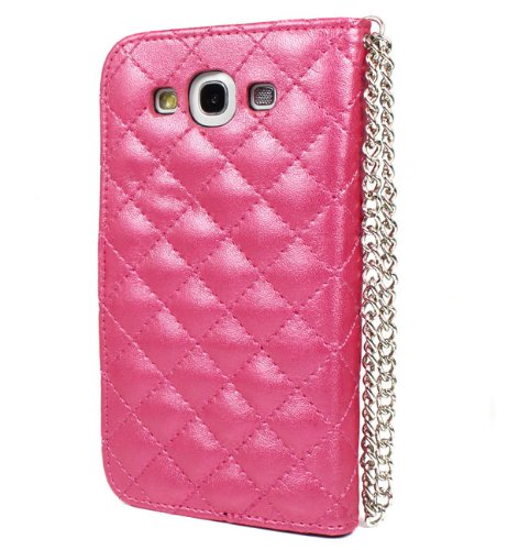 Card Wallet Crystal Diamond Leather Case Cover for Samsung Galaxy S3 Hot Pink