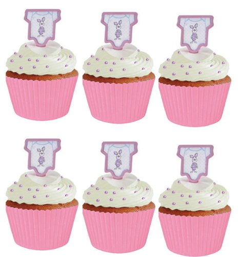 Cakesupplyshop Css891 Winnie The Pooh Piglet Baby Girl Shower Cupcake Picks With Bright Baby Pink Baking Cups