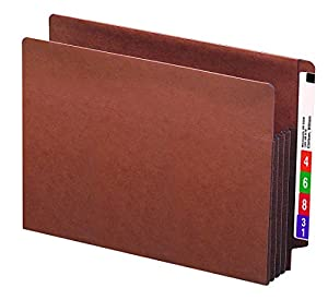 """Smead End Tab TUFF® File Pocket, Reinforced Straight-Cut Tab, 3-1/2"""" Expansion, Tyvek® Gusset, Extra Wide Letter Size, Redrope, 10 per Box (73780)"""