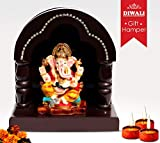 Beautiful crafted Temple with Lord Ganesha _ For Ghar ka Mandir_ Home decore_Traditional Gifts for Diwali(17.7 cm x 16.5 cm)