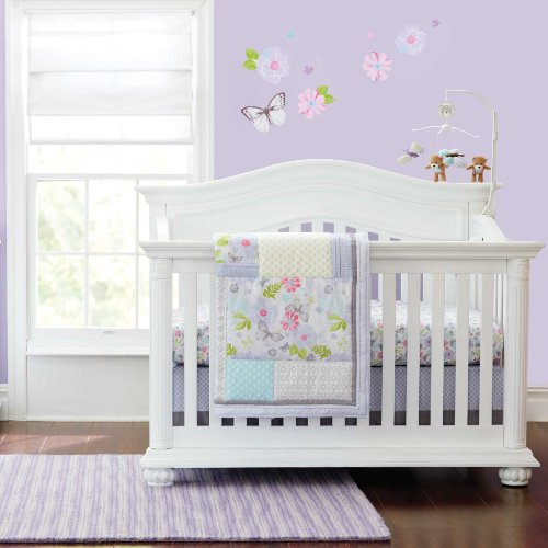 "Just Born ""Butterfly Garden"" 6-Piece Crib Bedding Set – lilac/multi, one size image"