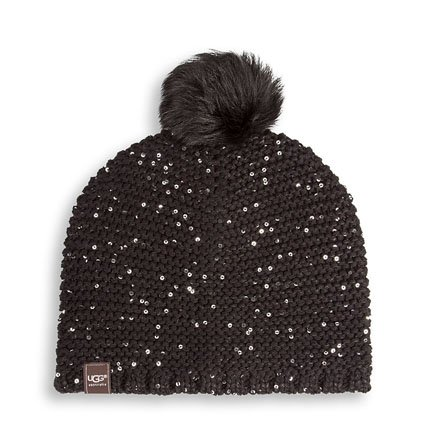 Ugg Women'S Lyla Sequin Beanie With Pom Black M Size One Size