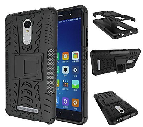 Chevron-Tough-Hybrid-Armor-Back-Cover-Case-with-Kickstand-for-Xiaomi-RedMi-Note-3-Black