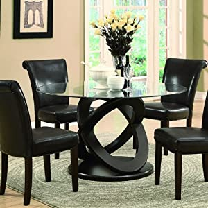 Monarch tempered glass dining table 48 inch diameter dark espresso tables - Inch diameter dining table ...
