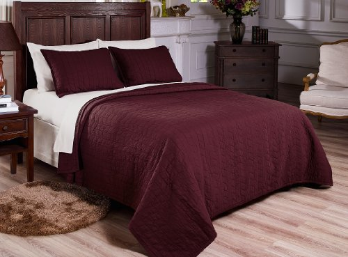 Chezmoi Collection 3-Piece Vintage Washed Solid Cotton Quilt And Shams Set, King, Burgundy