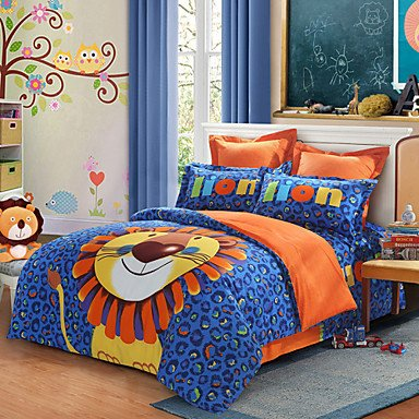 ELA LOVO Kids and the Cute Lion 100% Cotton 300TC Percale Bed Sheet Set Duvet Cover