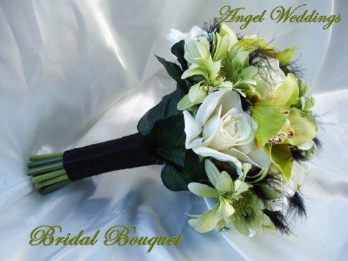 Wedding silk flowers BRIDAL BOUQUET BEAUTIFUL JAQUELINE SAGE
