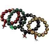 Beaded Buddha Bracelets Set Of 4, Two Resin & Two Wooden Bracelet