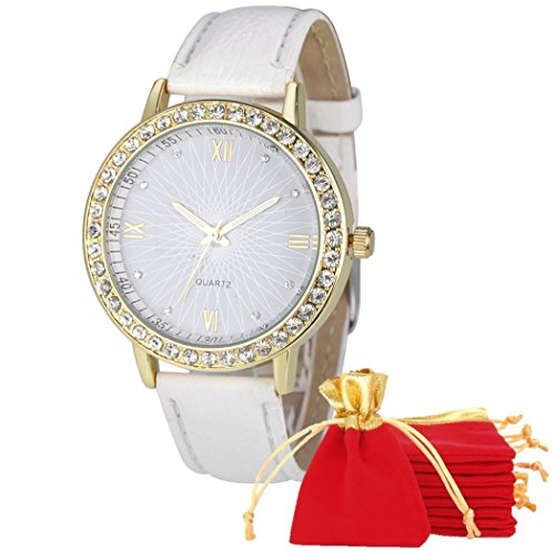 eBijoux 1764 - [CORONA BIANCO/BIANCO] Orologio Donna da Polso - Con cinturino regolabile a 6 fori - Quarzo - In Sacchetto vellutato Rosso e Oro - Regalo perfetto