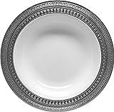 Decor Elegant Disposable Premium Heavy Weight Soup Bowls, Symphony Silver & White, 40 Count