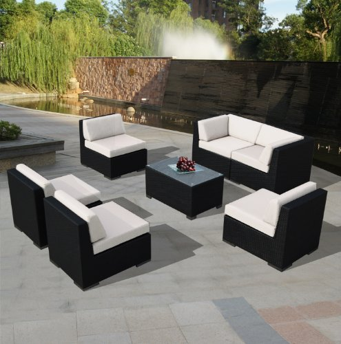 Genuine Ohana Outdoor Patio Wicker Sofa Sectional Furniture 7pc All Weather Couch Set with Free Patio Cover