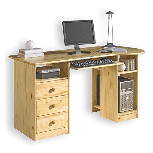 Schreibtisch-Computertisch-PC-Schreibtisch-Kiefer-massiv-natur-lackiert-mit-Schubladen