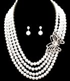 Victorian White Pearl Three Strand Necklace with Butterfly Broach