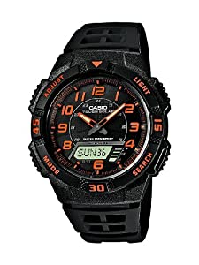 Casio Men's Quartz Watch with Black Dial Analogue - Digital Display and Black Resin Strap AQ-S800W-1B2VEF, Solar Powered