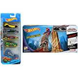 Hot Wheels 5 Car Pack/Spiderman Hot Wheels Track Set - Ultimate Marvel Spiderman Web Swing Drop-Out Track game with bonus Venom car toy (5 Car Gift pack may vary)
