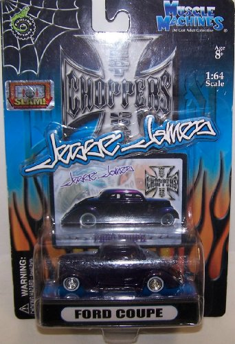 Muscle Machines 1/64 Scale Diecast West Coast Choppers Jesse James Series Ford Coupe in Color Purple - 1