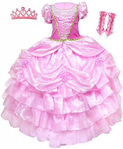 Aurora The Sleeping Beauty High Class Princess Dress Tiara Gloves Costume Set 4-9y