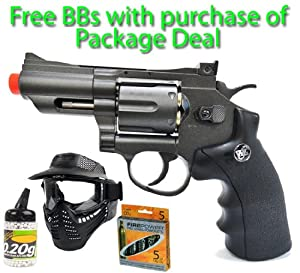 CO2 WG 708 Snub Nose Revolver Pistol Black FPS-480 Airsoft Gun Package Deal (Mask, CO2 and Free BBs)