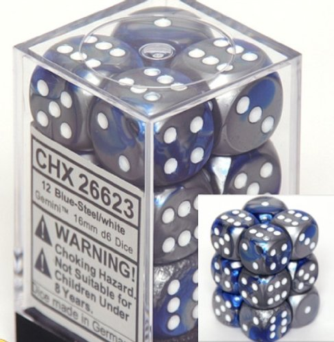 Chessex Dice d6 Sets: Gemini Blue & Steel with White - 16mm Six Sided Die (12) Block of Dice