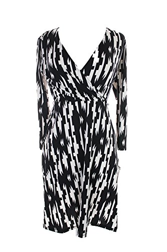 Inc International Concepts Plus Size New Black Printed Faux-Wrap Dress 3X $89.50 (Inc Dress Wrap compare prices)