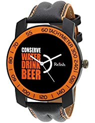 Relish-571 Stylish Orange & Black Case Analog Watches For Mens & Boys