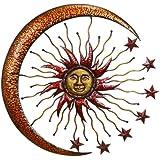 "Deco 79 42770 Metal Sun Moon Wall Decor, 36"""