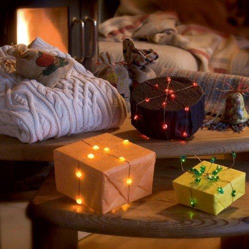 LED Lichterkette mit Sternen-Motiv für innen 20 Kerzen batteriebetrieben