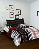 Tomatillo Geometric 4 Piece Cotton Double Bedding Set - Black and White