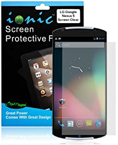 Ionic LG Google Nexus 5 Screen Protector Film Invisible (Clear) (3-pack)