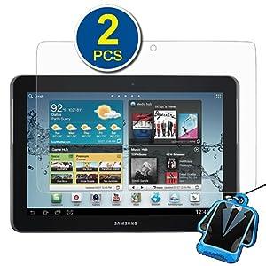 GTMax claires protection d'écran du film Garde pour Samsung Galaxy Tab 2 10.1 P5110 P5100 Android Tablette PC - (2 pack) + Mobile Strap Nettoyant LCD