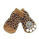 Badalink 4 Pcs Perro Calcetines Antideslizantes para Mascotas Gato Perrito Dom�stico Animal en Casa -Leopardo