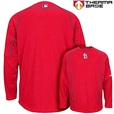 St. Louis Cardinals MLB Men's Therma Base On-Field Practice Pullover Fleece - Red
