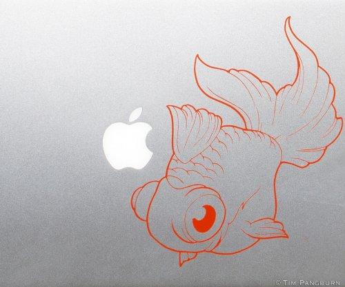 Fat Googly Eyed Swimming Pet Goldfish Fish MacBook Laptop Apple Vinyl Decal ORANGE Sticker Car Window Aquarium Fishtank Tank Ryukin Koi Cartoon Drawing Bubble Eyed Fancy Tail Kids Children Baby