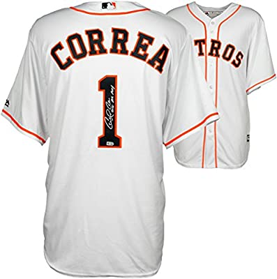 Carlos Correa Houston Astros Autographed White Majestic Replica Jersey with ROY 15 Inscription - Fanatics Authentic Certified